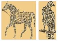 مخطوطان على شكل صقر وفرس